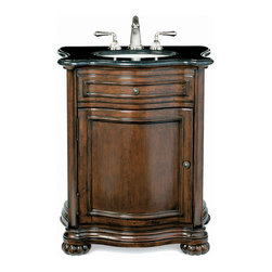 Cole and Co - Verona Vanity Base - This Italian hall chest is hand-made of the finest alder wood solids with select cherry veneers.  Its distressed Aged Chestnut finish is completed by hand with an old-world character and antiqued brass hardware. The Verona features Italian hardware and serpentine curved sides, an internal adjustable shelf for extra storage, paneled ends, and Flemish bun feet.  Back and shelf are pre-cut to allow for storage while maintaining ease in plumbing installation. Vanity base available separate, or with a custom made-to-match solid stone top in Bella Crema marble or Midnight Black granite, pre-cut for a 15. Dimensions: 33 in. x 23 in.