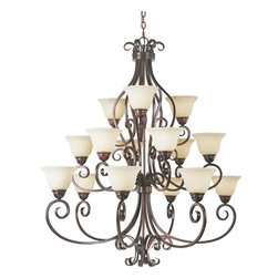 Maxim Lighting - Oil Rubbed Bronze Manor 3-Tier Chandelier with 15-Lights - 72 Chain Included - Product