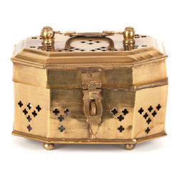 Mini Brass Cricket Box - A charming brass cricket box can house trinkets or other objects of desire. I love the brass cutouts and little bun feet.