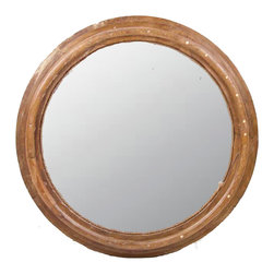 De-Cor - Architectural Teak Round Mirror - A round wall mirror made with vintage reclaimed teak wagon wheel with jute rope around, and natural wax patina.