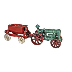 EttansPalace - Fordson Vintage Tractor with Spill Wagon Replica Cast Iron Collectible Farm Toy - The driver rides high enough to watch the turning wheels on both his original Fordson tractor and the bucket spill wagon that follows him in this delightful, small-scale, antique farm toy. An antique farm tractor from a bygone era, our collectible iron toy tractor is produced using the sand cast method and then hand-painted especially for the farm collector.