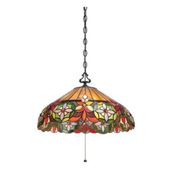 Quoizel - Pendant - The bright colors and floral design of the Mariah Collection will liven up any living area. The Vintage Bronze finish enhances the Tiffany-style shades that are hand-assembled using the copper foil method developed by Louis Comfort Tiffany. Available in a piccolo pendant, pendant and floor lamp.