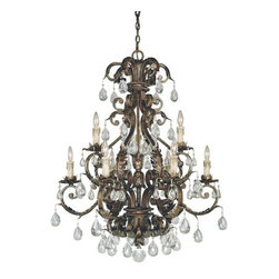Savoy House - Crystal 9 Light Up Lighting Chandelier Chastain Collection - Nine Light ChandelierFeatures New Tortoise Shell with Silver Finish with Clear Crystal and Antique Cream Drip Candle CoversRequires Nine 60W Candelabra  Lamps