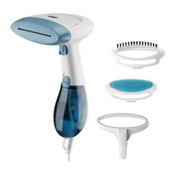 Conair - C Hand Held Fabric Steamer - Conair GS23 Extreme Steam Handheld Fabric Steamer with Dual Heat system.  1100 watts; 30 second heat up time; 15 minutes steam time; 20 to 21g per minute steam rate; Includes fabric brush  creaser attachement  and soft cushion brush; Removeable water tank; 9' power cord; Power light/ready light; Dual heat control: Super heat 160 degree for wool and cotton  Normal care 130 degree for silk  satin  nylon and polyester.  Kills dust mites and bedbugs!  This item cannot be shipped to APO/FPO addresses. Please accept our apologies.