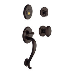 Baldwin Hardware - Logan Single Cylinder Handleset with Knob in Venetian Bronze (85335.112.ENTR) - The Baldwin Estate Collection Logan Single Cylinder Venetian Bronze Handleset with Knob features an adjustable latch and deadbolt to fit most standard exterior residential door preparations. This handleset is ideal for use where a keyed entry is desired.