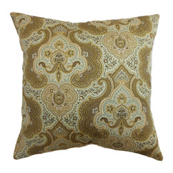 """The Pillow Collection - Danielle Paisley Pillow Aqua/Cocoa - This pretty throw pillow is a perfect addition to your modern-contemporary or lodge theme home design. This square pillow is an ideal accent piece, which you can decorate on your bed. The vivid and intricate paisley print pattern is combined with a beautiful Aqua/Cocoa color palette. The warm shades of brown, blue and yellow makes this decor pillow a must-have piece. This 18"""" pillow is made from 95% cotton and 5% linen. Hidden zipper closure for easy cover removal.  Knife edge finish on all four sides.  Reversible pillow with the same fabric on the back side.  Spot cleaning suggested."""
