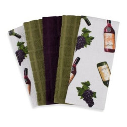 "Ka&f Group, Llc - Wine 5-Pack 100% Cotton Terry Cloth Kitchen Towels - These classy kitchen towels feature images of grapes and wine bottles and add style to any kitchen. The towels' 16"" W x 26"" L dimensions will help you with bigger messes and cleaning up spills."