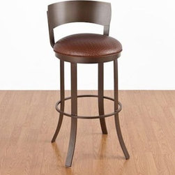 Birkin 26 in. Counter Stool - Swivel Metal Back - Add comfort and style to your home bar or other area with the Birkin 26 in. Counter Stool - Swivel Metal Back. This beautiful bar stool has a durable 16-gauge steel frame finished in a chip-resistant powder coat in your choice of color, with fabric or vinyl upholstery to match. It also features a swivel seat with a low back design, no-mar leg guides to help protect your floor, and a high-density seat cushion. This bar stool requires only partial assembly, for stress-free setup. Swatch images reflect frame finish. Dimensions: 16.5W x 16.5D x 33.5H inches, seat height 26H inches. Please note: This item is not intended for commercial use. Warranty applies to residential use only.Seat options (all colors are subject to manufacturer availablity): White Text Frame/Linen Fabric Seat (Cotton/Poly blend) Nickel Frame/Ford Black Vinyl Seat (100% PU Vinyl) Matte Black Frame/Amuse Onyx Fabric Seat (Poly/Acrylic fabric blend) Flintrock Grey Frame/Granite Fabric Seat (Cotton/Rayon blend) Sun Bronze Frame/Ford Brown Vinyl Seat (100% PU Vinyl) About Tempo Industries, Inc.Since 1970 Tempo Industries has been a leader in technological innovation. This has helped put the company at the forefront of bar stool and dining furniture manufacturing. Featuring an exciting line of designs, finishes, fabrics and frames, Tempo is sure to offer the perfect item for your home.