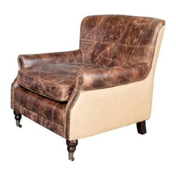 EuroLux Home - New Downton Arm Chair Aged Brown Leather - Product Details