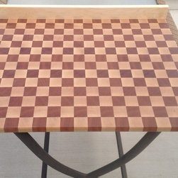 """Butcher block countertop - Extra large cutting board, or small counter top?  This was constructed of Maple and Jatoba in an endgrain position like traditional high quality butcher block cutting board.  This custom piece was made approximately 24""""x30""""x1"""" and a solid Maple back splash was added."""