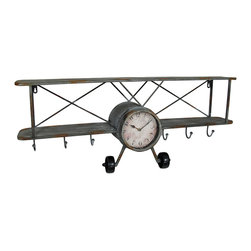 Zeckos - Weathered Finish Gray Metal Bi-Plane Wall Mounted Clock w/Hooks 33 in. - This unique wall clock adds a little whimsy and extra storage with a vintage biplane design and 6 hooks great for hanging keys, bags and jackets Crafted from metal with a wonderfully weathered gray finish, this wall hanging features a clock in the center that requires just 1 AA battery (not included), and easily mounts to the wall using the attached keyhole hangers. Great for the entry, in the kitchen to hang towels and utensils, or in the bedroom to keep your robes and towels handy, this 33.5 inch long, 14 inch high, 7 inch wide (85 X 36 X 18 cm) sculpture is an amazing accent, and great as a gift sure to be admired