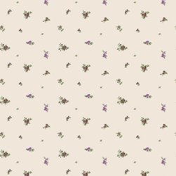 Wallpaper Worldwide - California - Cabbage Rose Wallpaper, Green, Purple, Offwhite - Material: Paper Backed. PVC.