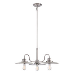 Quoizel - Quoizel Antique Nickel Mid. Chandeliers - SKU: ADM5103AN - Lighting reminiscent of the beaches and boardwalks of the past, the Admiral collection is available in Antique Nickel and Imperial Bronze finishes. The Victorian Edison-style bulb adds the perfect vintage touch and highlights the clear ribbed glass. Bring that seaside appeal to your home with the Admiral collection.