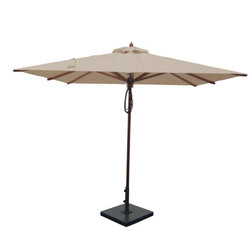 Greencorner - 8'x8' Mahogany Umbrella, Beige - 8x8' Square