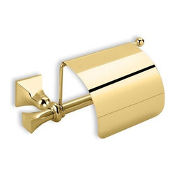 StilHaus - Classic-Style Brass Toilet Roll Holder with Cover, Gold - Toilet roll holder with cover in chrome, bronze, or satin nickel finish.