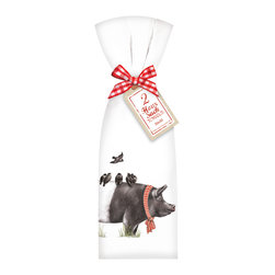 "Mary Lake- Thompson Ltd. - Farmhouse Pig Towel Set - - Set of two flour sack towels- Towel comes with matching ribbon and tag- Great for drying dishes and cleaning up!- Towel 30"" x 30"" featuring beautiful design by artist Mary Lake-Thompson."