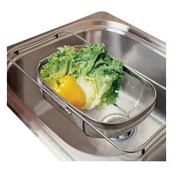 Amco Houseworks - Amco Houseworks Over The Sink Colander with Legs - This is the gift that keeps on giving. If your kitchen space isn't exactly big in size, this stainless steel, over-the-sink colander will delight up to 21-inch kitchen sinks. Enjoy the countertop space you'll gain once you position this into place. Great for rinsing vegetables and fruit, draining pasta and maybe even your seashell finds at the beach.