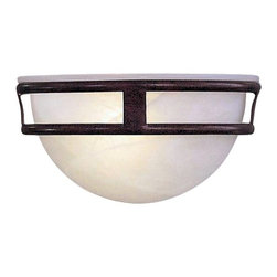 Minka Lighting - Sconce with Marble Glass - 839-91 - This sconce features a marbled glass shade nestled inside an antique bronze-finished framework. Mounted flush to the wall, the half-bowl shape allows for generous up lighting and the frosted glass glows warmly from within. The geometric lines of the metal framework give this piece a subtly distinctive look that blends well with more contemporary decor. Takes (1) 60-watt incandescent Flame bulb(s). Bulb(s) sold separately. Dry location rated.