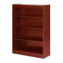 "Lorell - Lorell Four Shelf Panel Bookcase - 36"" Width x 12"" Depth x 48"" Height - Veneer - High-quality, veneer bookcase features a vintage square design. Solid, 3/4"" thick shelves are adjustable on 1-3/4"" centers with pinhole attachments, except for bottom shelf. Four-shelf bookcase has a laminate finish on the back's interior and an unfinished back side. Each shelf holds up to 110 lb."