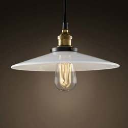 Industrial Edison Bulb White Shade Pendant - Add warmth to your home by hanging this Industrial Edison Bulb White Shade Pendant in your living room,kitchen,or children's bedroom.Once you hang this lamp, you'll start critiquing every other lighting fixture in the house. The light's unique design will change the way you think about illuminating a room.More Table Lamp,Pendant Lighting and Floor Lamp are waiting for you in www.parrotuncle.com!