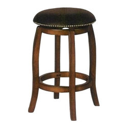 "ACMACM07247 - Chelsea 24"" Seat Height Swivel Bar Stool with Leather Seat in Vintage Oak Finish - Chelsea 24"" seat height swivel bar stool with leather seat in vintage oak finish, Each stool features a leather seat top with brass pin trim and a swivel seat, Measures 24"" H and also comes in 29"" seat height. Some assembly required."
