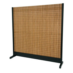 Oriental Furniture - 6 1/4 ft. Tall Take Room Divider - Black - This simple, sophisticated room divider is equally suited to the home or office. Constructed primarily from woven bamboo slats and mounted in a spruce frame with a crisp black finish, it combines natural, traditional materials into a sleek, contemporary design. Perfect for dividing a space without obstructing light or air, this divider will make a functional and stylish impact on your decor.