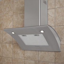 """30"""" Brisa Series Stainless Steel Wall-Mount Range Hood - 600 CFM - This low-profile stainless steel range hood quietly vents your kitchen with its powerful three-speed engine. This stove vent features two halogen lights and an adjustable flue to fit most ceiling heights."""
