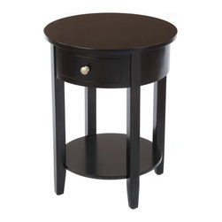 None - Bay Shore Collection Black Round Drawer Side Table - The Bay Shore Collection round side table features a wood top and drawer that adds contemporary style to any living room or family room. This accent piece is a great way to completely change the look and feel of your living space.