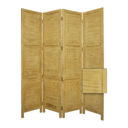Nantucket Screen,  Yellow - Nantucket 4 Panel Floor Screen has a frame and panels of solid cedar wood that is stained in a washed soft green. This handmade Floor Screen is finished on both sides