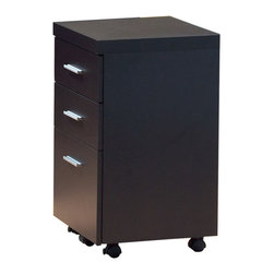 Monarch Specialties - Monarch Specialties I 7013 Cappuccino Hollow-Core File Cabinet on Castors - This cappuccino hollow-core three drawer file cabinet keeps your desk supplies organized, with two medium storage drawers and a convenient lateral file drawer below. Contemporary silver handles boldly accent each drawer front for a look you will love, while casters provide easy mobility. File Cabinet (1)