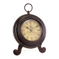 iMax - iMax Brown Iron Desk Clock X-3152 - Charming round brown iron desk clock, with yellow face, roman numerals, rests on easel