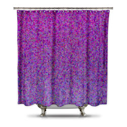 Shower Curtain HQ - Catherine Holcombe Berry Pie Fabric Shower Curtain, Standard Size - Do you want some bling in your bathroom? How about purple bling? This digital design comes to you by California artist, Catherine Holcombe. The pink and purple shades in this ombre design will give your bathroom the color and waterproof artwork that it needs. The fabric is a thick quality polyester that hangs beautifully. This unique shower curtain is made in the USA and a portion of each and every sale goes back to the artist.