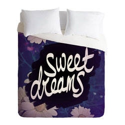 DENY Designs - DENY Designs Leah Flores Sweet Dreams 1 Duvet Cover - Lightweight - Turn your basic, boring down comforter into the super stylish focal point of your bedroom. Our Lightweight Duvet is made from an ultra soft, lightweight woven polyester, ivory-colored top with a 100% polyester, ivory-colored bottom. They include a hidden zipper with interior corner ties to secure your comforter. It is comfy, fade-resistant, machine washable and custom printed for each and every customer. If you're looking for a heavier duvet option, be sure to check out our Luxe Duvets!