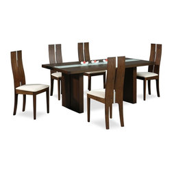 High-class Glass Top 5 Piece Dining Set with Chairs - Modern rectangular dining table with four chairs. Durable construction