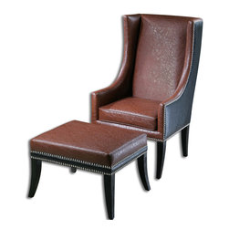 Uttermost - Uttermost 23115 Detrick Leather Armchair - Uttermost 23115 Detrick Leather Armchair