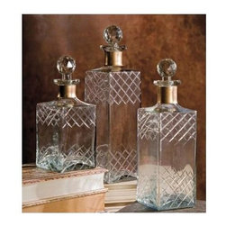 Imax Worldwide Home - Whimsical Hampshire 3-Pc Etched Decanter Set - Includes small, medium and large cecanter. Modern style. Perfect for parties. Made from 100% glass. Made in India. Small: 3 in. W x 3 in. D x 8 in. H. Medium: 3 in. W x 3 in. D x 10 in. H. Large: 3.5 in. W x 3.5 in. D x 12 in. H. Weight: 16.76 lbs.The perfect accent for a shelf or dressing table, these glass bottles with whimsical stoppers are eye-catching