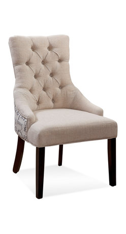 Bassett Mirror - Bassett Mirror Fortnum Nailhead Parsons Chair, Script Fabric (Set of 2) - Fortnum Tufted Nailhead Parsons Chair, Script Fabric, Set of 2