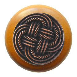 Classic Collection - Classic Weave Wood Knob in Antique Copper/Maple