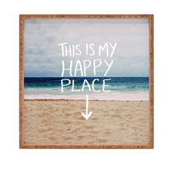 DENY Designs - Leah Flores Happy Place X Beach Square Tray - With DENY's multifunctional square tray collection, you can use it for decoration in just about any room of the house or go the traditional route to serve cocktails. Either way, you'll be the ever so stylish hostess with the mostess!