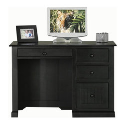 Eagle Industries - Coastal Single Pedestal Desk (Black) - Finish: Black. One keyboard with pencil drawer combo. Two letter drawers. One bead board file drawer. Decorative molding. Bead board detailing. Finished back. Made from poplar, birch solids and veneers. Warranty: Eagle's products are guaranteed against material defects for one year from date of delivery to the dealer. Made in USA. No assembly required.  46.5 in. W x 24 in. D x32 in. H (118 lbs.)The Coastal collection fits today's casual lifestyle. Recessed doors, bead board panels and solid wood moldings provide a clean, contemporary style that is complemented by a choice of painted or rich stained finishes