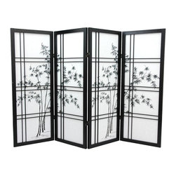 Oriental Unlimted - 4 ft. Tall Low Bamboo Tree Shoji Screen (Rosewood / 4 Panels) - Finish: Rosewood / 4 PanelsThe minimalist design of this shoji frame incorporates classic double cross lattice and a black finish for drama. Rice paper insets feature the delicate spread of bamboo across all panels. It's lower in profile to create a wonderful accent piece and room divider. Screens may vary slightly in color. Low height is perfect for hiding unsightly areas, fireplaces and kids play areas. Perfect for adding a new design element to your space. A stylish addition to any room with its bright and vibrant colors. Crafted from durable, lightweight Scandinavian spruce. Crafted using Asian style mortise and tenon joinery. Fold slightly to stand upright. Shade is strong. Fiber reinforced. Pressed pulp rice paper allows diffused light yet provides complete privacy. Lacquered brass, 2-way hinges mean you can bend the panels in either direction. Black finish. Assembly required. Each panel: 17.5 in W x .75 in. D x 48 in. H. 4-Panel screen: 72 in. wide (flat); 60 in. wide (panels folded)