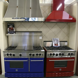 """Our Showroom - 48"""" and a 36"""" Blue Star ranges with a matching Blue Star hood and a custom Modern Aire hood"""
