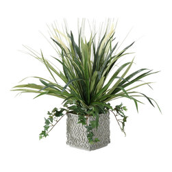 "D&W Silks - Artificial Onion Grass and Spider Plant in Square Ceramic Planter - It's amazing how much adding a plant can change the look of a room or decor, but it can be difficult if your space is not conducive to growing plants, or if you weren't exactly born with a ""green thumb."" Invite the beauty of nature into your home without all the upkeep with this maintenance-free, allergy-free arrangement of artificial onion grass and spider plant in a square ceramic planter. This is not a living plant."