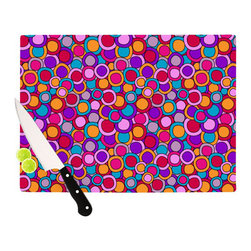"""Kess InHouse - Julia Grifol """"My Colourful Circles"""" Cutting Board (11"""" x 7.5"""") - These sturdy tempered glass cutting boards will make everything you chop look like a Dutch painting. Perfect the art of cooking with your KESS InHouse unique art cutting board. Go for patterns or painted, either way this non-skid, dishwasher safe cutting board is perfect for preparing any artistic dinner or serving. Cut, chop, serve or frame, all of these unique cutting boards are gorgeous."""