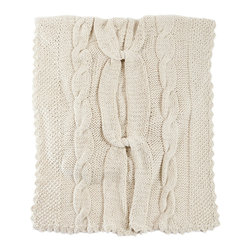 """Homelosophy - Knot Throw - This gorgeous white hand knitted Knot' throw blanket is a very unique piece. Almost like having a 'chunky sweater' that perfectly melts into your trendy & chic home decor. Chunky cable wool yarn have been hand knitted together into a braid knotted throw blanket. The giant knot design and weight of the pure merino fabric means this throw drapes beautifully and feels amazingly soft to the touch. Amazingly warm and cosy - this really is a forever piece finished to ensure the highest quality, softness and comfort. It makes it ideal for home decor, being able to be used as covers for chairs, beds, armchairs and sofas or paths, folders and sides of bed. Each throw comes in a lovely keepsake linen bag. Raw material: 100% superfine merino wool yarn Pattern & Color: Braid knotted sweater pattern - cable hand knitted throw natural ivory Size: 51"""" W x 71"""" L"""