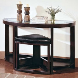 Pieces Console Table with Ottoman - The contemporary Pieces Console Table with Ottoman is a unique console table that will add interesting design to your foyer or behind your sofa. A soft leather topped wedge shaped chair fits perfectly underneath the crescent shaped table and pulls out for a convenient seat right at the perfect height. The sturdy hardwood is finished in a dark elegant cherry and topped with beveled glass to keep your room feeling light and airy.