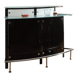 Coaster - Coaster Arched Bar Unit with Frosted Glass Counter in Black - Coaster - Home Bars - 100139 - Bring a classy yet contemporary styling to your bar and entertaining area with this arched bar table. It is crafted with a black and chrome finish that offers neutral tones for your space. Arching slightly it boasts plentiful storage space with a stemware rack 8 bottle holder and multiple shelves. Two frosted glass counter tops and a chrome foot rest makes this bar table cozy and stylish for your home.