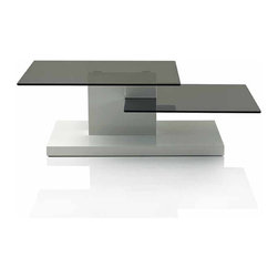 Creative Furniture - Rocky Coffee Table - This coffee table is a stylish minimalist table suitable for any contemporary living room. The table features black tinted glass top and shelf and durable MDF construction. The frame is finished in High Gloss White.    Features: