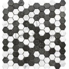 1 inch Hexagon Honed White Carrara and Basalt Mosaic Tile - DEKO Tile