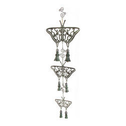 Butterfly Wind Chime | MacKenzie-Childs - Enchanting, functional, musical art. Heavily patinaed brass chains and scrolls, with light-catching crystals and tinkling bells.